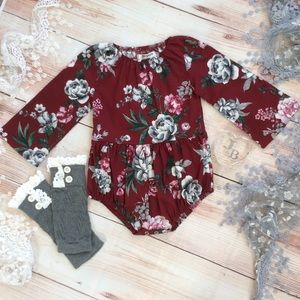 Boutique Baby Girls Floral Romper & legwarmers
